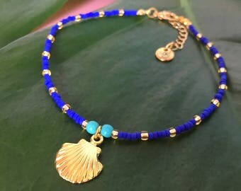 Deep sea shimmers anklet - Dark blue matte seed bead anklet with goldtone seashell charm