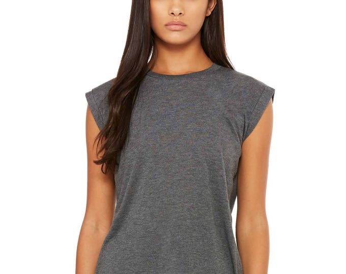 Flowy Tee Rolled Cuff Dark Grey- Wholesale Only - We will print your chosen design!