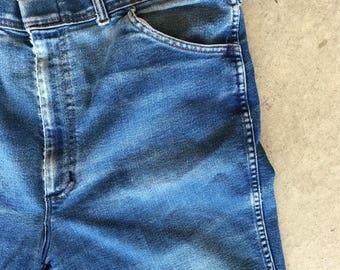 1970s Worn Denim Blue Jeans