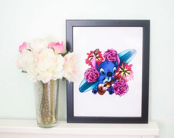 Lilo and Stitch Floral Hawaiian Print