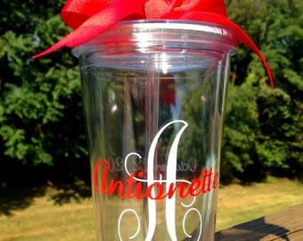 Personalized Tumbler with Straw and coordinating bow