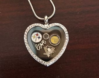Pittsburgh Steelers, Penguins, Pirates Heart Floating Charm Locket Necklace