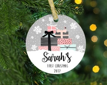 Baby's First Christmas Ornament, Personalized Children's Ornament, New Baby Gift Christmas, Scandinavian Christmas, Custom Ornament Child