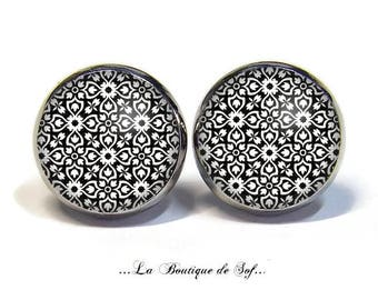 Stud Earrings with cabochon 12 mm * geometric * (310517)
