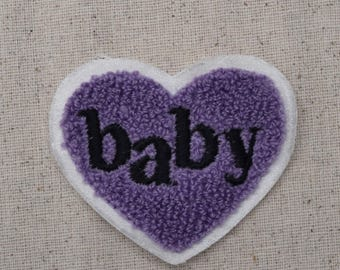 Baby Heart - Chenille - Black/White/Purple - SEW on Applique - Embroidered Patch - AEM-700-COD