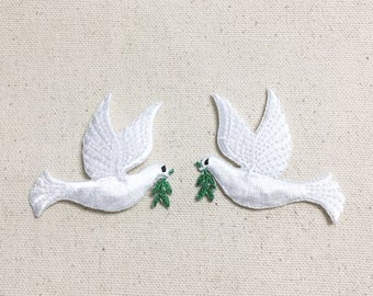 White - Peace Dove - Olive Branch - Facing LEFT or RIGHT - Iron on Applique - Embroidered Patch -  693823