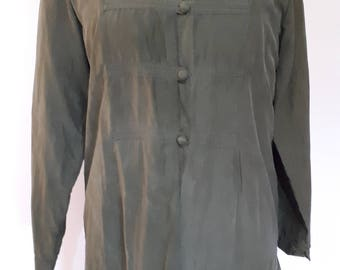 Vintage kaftan jacket by Cognito Made In Ireland - pure silk moss green kaftan style tunic top size medium