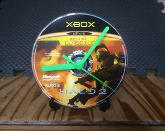 Halo 2 - CD Game Disc Clock - FPS Xbox Classics Gaming Clock Gift