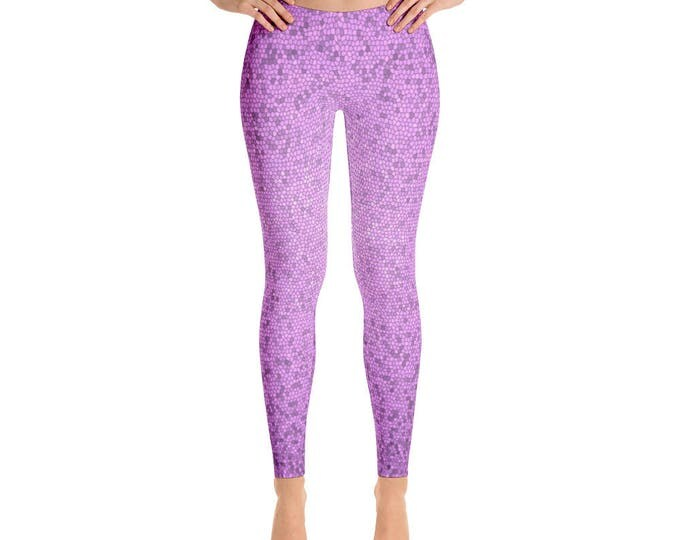 Leggings, Ankle Length Leggings, Capri Leggings, Yoga Pants, Purple Leggings, Women's Sizes, X-Small, Small, Med, Large and XLarge