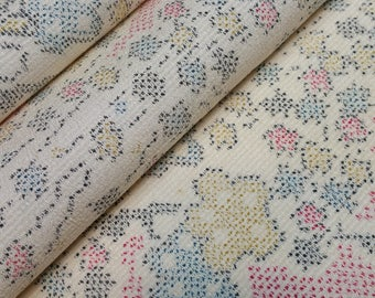 Tsumugi Silk Kimono Fabric with plum blossom and floral design - by the yard
