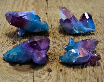 Blueberry and grape purple hybrid aura quartz cluster, violet aura quartz, aura crystal, blue aura quartz, crystal gift, boho decor