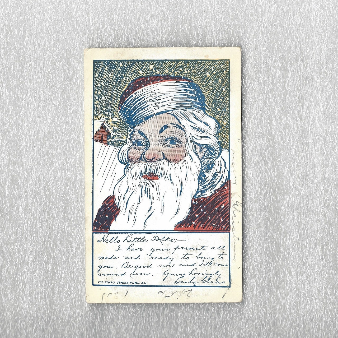 Antique Letter From Santa Claus Christmas Postcard Undivided Back