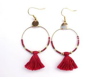 Gold hoop earrings / red hoops / hoop tassel earrings / hoop red earrings / tassel earrings