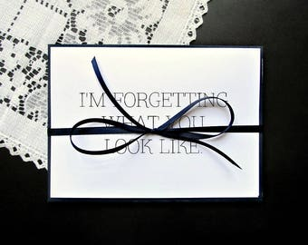 Long Distance Relationship Cards - Miss You Love Greeting Cards Variety Pack - Set of 5 - Black and White Modern - Blank Inside