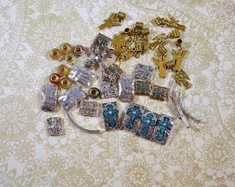Religious Supply LOT Religious Bracelets Pieces and Parts Angel Charms Glass Beads Repurposing Lot Reuse Lot Religious Destash Lot  #3685