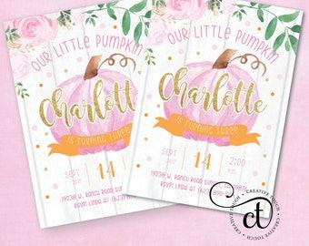 Pumpkin Birthday invitation, Girl Invite, Our Little Pumpkin Is Turning One Invitation, Our Little Pumpkin Birthday Invitations, Fall