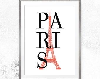 Paris bedroom decor, Printable poster, Paris wall art, French decor, Paris print, Home decor, Paris poster, Bedroom wall art