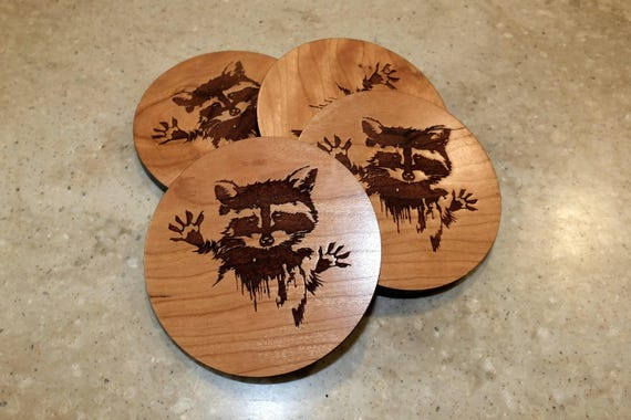 Wooden Raccoon Coasters with  Raccoon Engraved on Maple or Cherry Wood. Home Bar-Home Decor-Patio-Housewarming Gift-Man Cave-Living Room