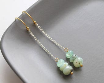 Long Peruvian Opal Earrings, Goldfill and Sterling Silver, Chain, Gift for Her, Bohemian Butterfly, Semiprecious Stone, Green Gems - ISSA