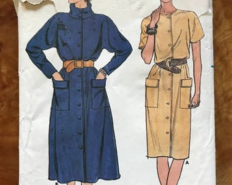 Butterick 6744 - 1980s Very Loose Fitting Straight or Slightly Flared Dress with Blouson Bodice - Size 12 14 16