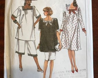 Simplicity 9173 - 1980s Square Neck Dress or Tunic, Pencil Skirt, and Cropped Pants - Size 8 10 12 14 16