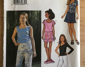 Butterick 3414 - Girl's Flutter Sleeve Shirt, Tank Top, with Asymmetrical Option with Skirt and Capris Pants - Size 7 8 10
