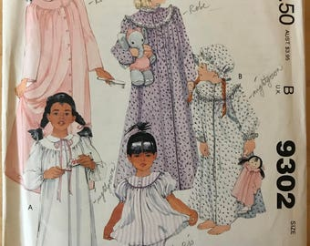 McCalls 9302 - 1980s Round Yoke Pajama Top, Nightgown, and Robe, Bottoms, and Mop Cap - Size Small 4 6 Breast 23 25