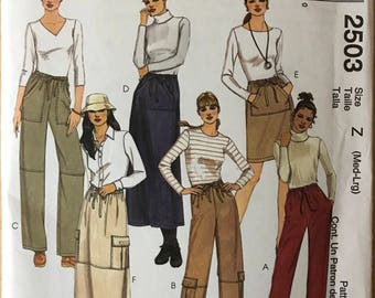 McCalls 2503 - Easy Fashion Basics Pull On Pants and Skirt with Patch and Side Seam Pocket Options - Size M L