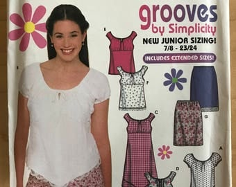 Simplicity 9635 - Grooves Juniors Top, Dress, and Skirt with Shaped Hem Option - Size 7 8 9 10 11 12 13 14 15 16