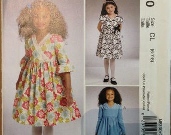 McCalls Sew Crafty MP330 Little Girls Dress with Empire Waist, V Neck and Sleeve Options - Size 6 7 8
