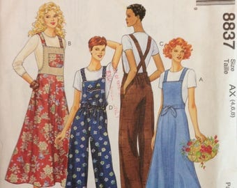 McCalls 8837 Bib Overall Pants or Dress with Criss Cross Straps - Size 4 6 8