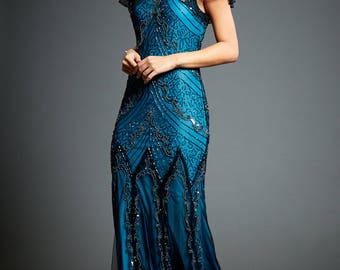 Evelyn Blue Beaded Flapper Dress, 20s Great Gatsby Inspired, Downton Abbey, Blue Formal Wedding Maxi, Sequin Evening Gown, Plus Size, S-XXXL