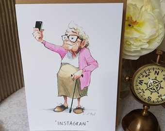 Fun Instagran card for a fun loving tech Grandma, blank greeting card for a techie savy Gran, Love your Gran to bits everyday greeting,