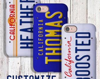 Custom Tough Phone Case - Custom California License Plate Phone Case - iPhone samsung google LG
