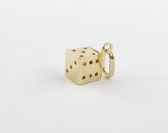 14k Yellow 3D Gambling Dice Charm - 14k Yellow Gold Casino Dice Pendant