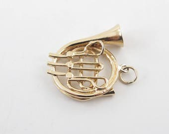 French Horn Charm 14K Yellow Gold 3D Musical Instrument Pendant