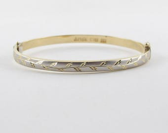 14k Yellow Gold Bangle Bracelet, 14k White Gold Bangle Bracelet