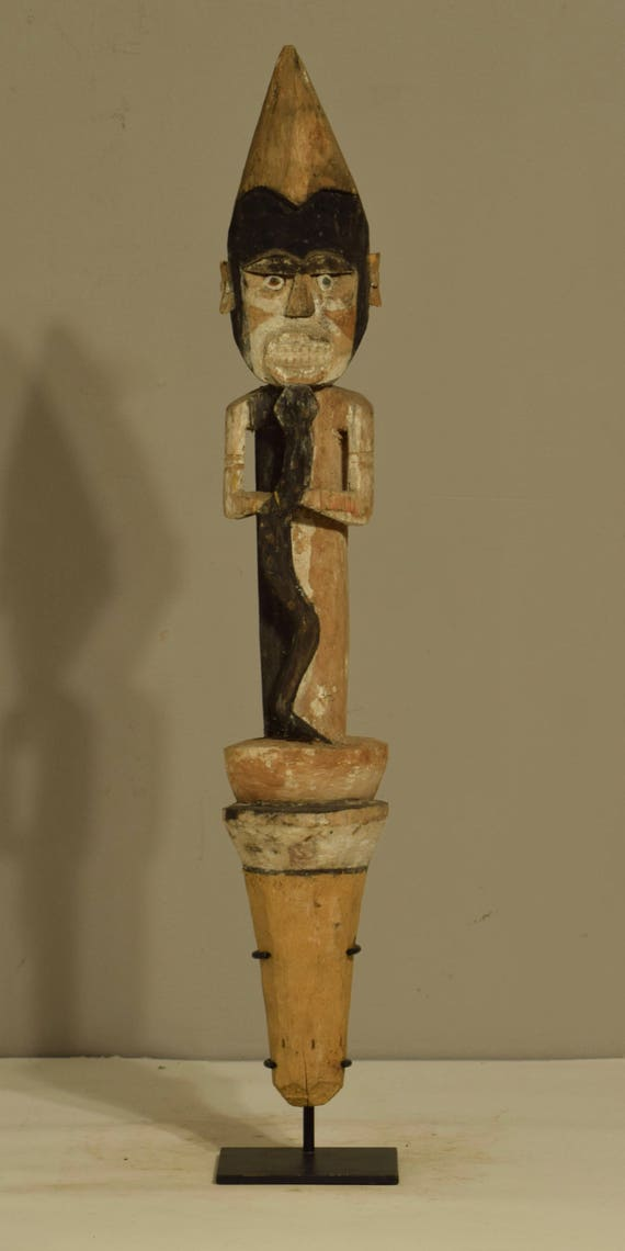 Papua New Guinea Figure Malangan Funerary New Ireland Handmade Ceremonial Malangan Figure