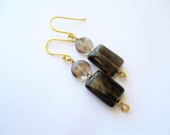 "Topaz Earrings, Brown and Champagne Topaz Earrings, Topaz and 14 kt Gold Filled Earrings, 1 3/8"" dangle, November birthstone"
