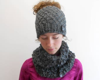 Messy Bun Hat Chunky Knit Cowl Set - Bun Hole Hat - Bun Beanie - Ponytail Hat - Gift for Her - Handmade Alaska Gift Charcoal Gray