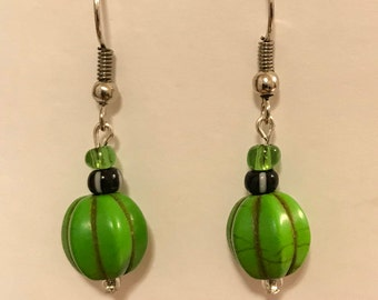 Green glass beads with black accent Beaded Dangle Earrings, hypoallergenic fish hooks