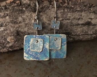 Rustic silver earrings, riveted layers, hammered texture blue earrings