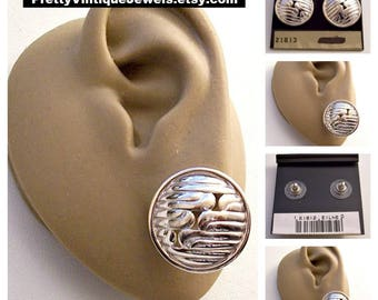 Monet Swirl Band Disc Pierced Stud Earrings Silver Tone Vintage Round Domed Rimmed Edge Rib Open Lines Surgical Steel Post