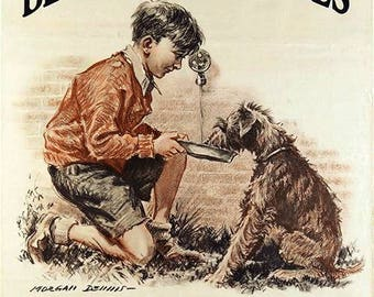 Be kind to Animals Vintage Print Morgan Dennis the American Society Prevention of Cruelty to Animals pets,Rustic Decor,or Living-room, Den