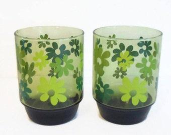 2 (Two) Vintage, Retro Green Flowered Tumblers/Drinking Glasses -  Vintage Drinkware, Vintage Kitchen Decor, Green Kitchen