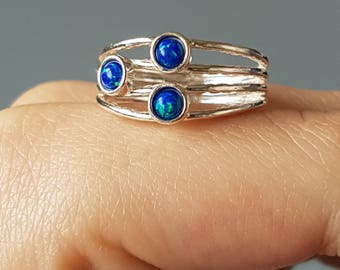 Opal ring, sterling silver rings, synthetic fire opal, blue jewelry, multistone jewellery, three stone ring, engagement ring, wedding, uk
