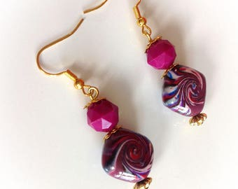 Earrings, polymer clay, purple, Fuchsia.