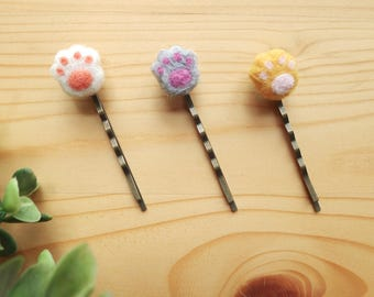 Handmade Needle Felted Cat Paw Brass Hair Pins