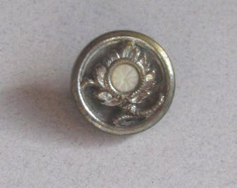 Antique Brass Waistcoat Button--Flower With Pearl Center