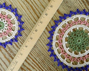 Multicolor Crochet Doily - Colorful Doily Small Large - Crochet Centerpiece - Pastel Doily - Purple Pink Green Cream - Floral Ring Pair